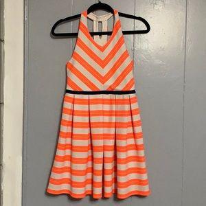 Pink & Violet Orange and White Striped Dress